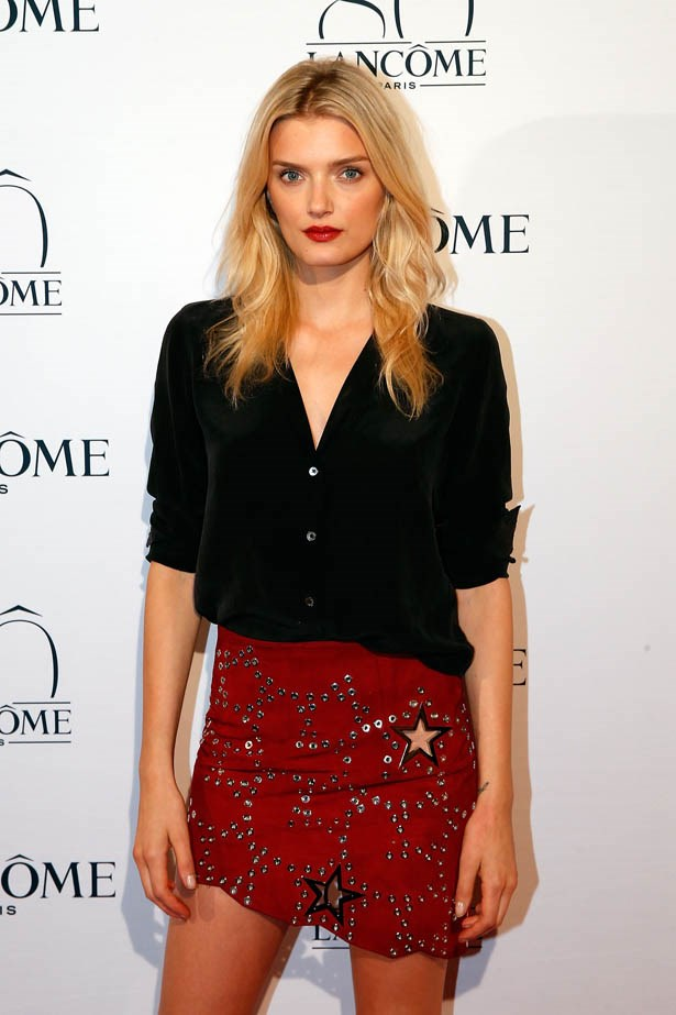 Lily Donaldson attends Lancôme's 80th anniversary in Paris.