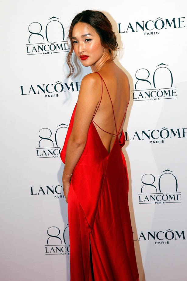 Nicole Warne attends Lancôme's 80th anniversary in Paris.