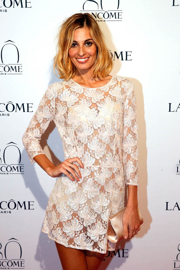 Sveva Alviti attends Lancôme's 80th anniversary in Paris.