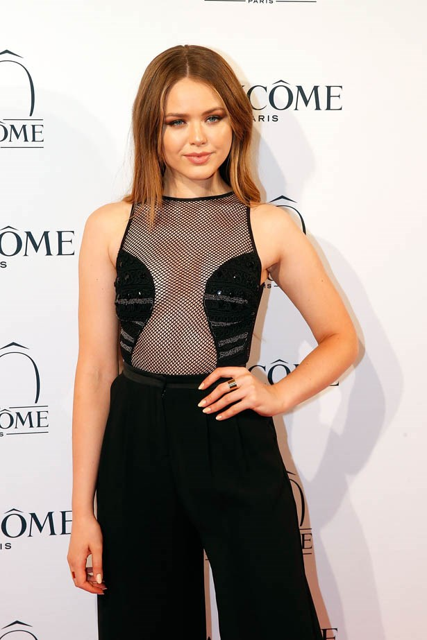 Kristina Bazan attends Lancôme's 80th anniversary in Paris.
