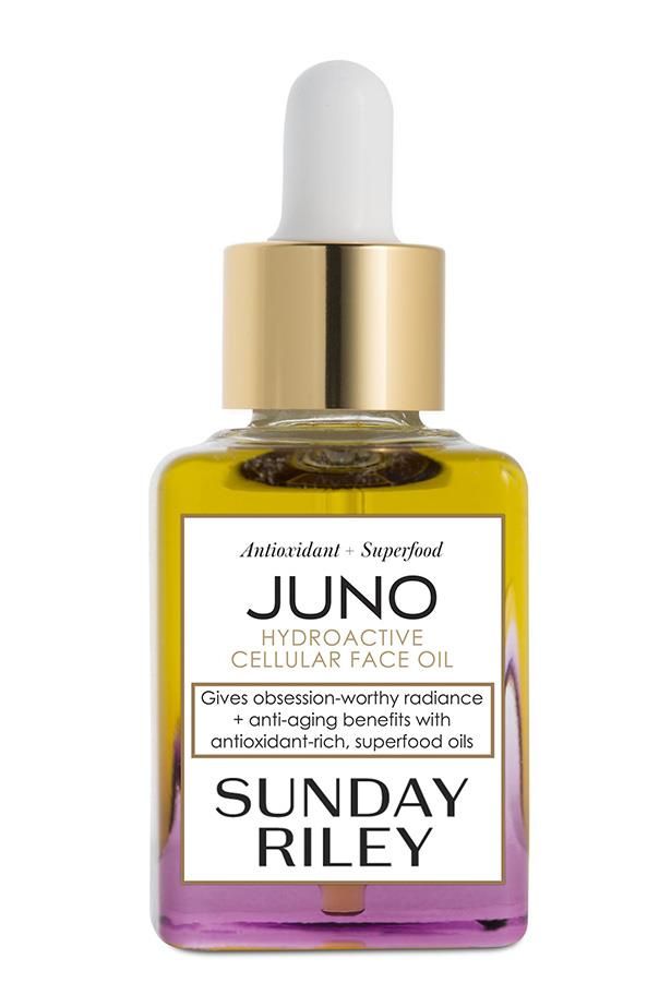 """<strong>The cold-weather glow-inducer </strong> <br><br>Juno Hydroactive Cellular Face Oil, $132, Sunday Riley, <a href=""""http://mecca.com.au/sunday-riley/juno-hydroactive-cellular-face-oil/I-015825.html"""">mecca.com.au</a>"""