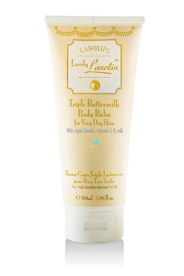 """<strong>The dry-patch rescue</strong> <br><br>Lovely Lanolin Triple Buttermilk Body Balm for Very Dry Skin, $23.95, Lanolips, <a href=""""http://www.camdise.com.au/lanolips-lovely-lanolin-triple-buttermilk-body-bal/186509"""">camdise.com.au</a>"""