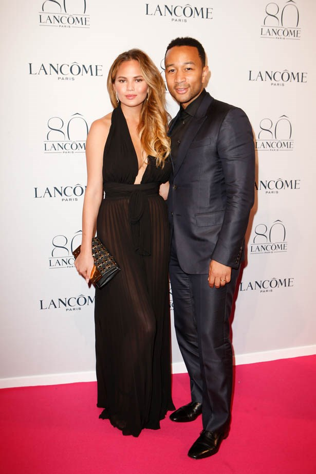 John Legend and Chrissy Teigen attend Lancôme's 80th anniversary in Paris.