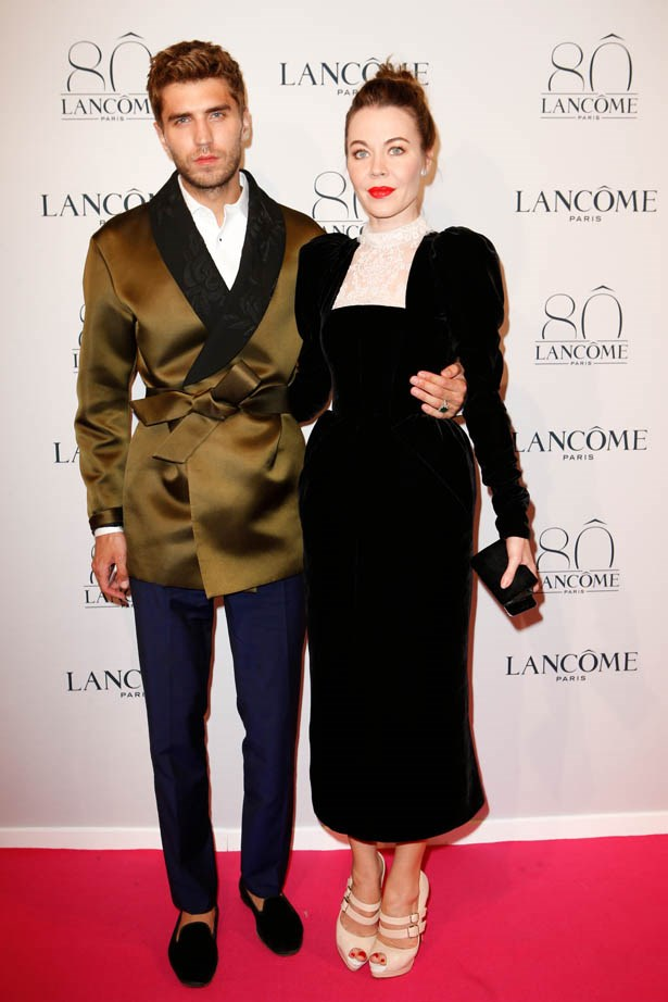 Ulyana Sergeenko and Frol Burimskiy attend Lancôme's 80th anniversary in Paris.