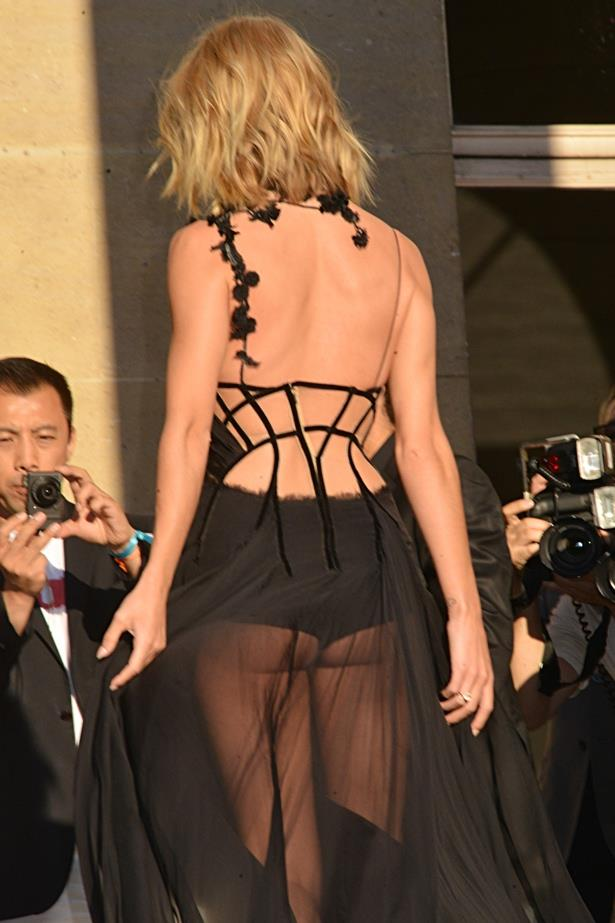 The back of Rosie Huntington-Whiteley's pretty much naked dress at the Versace show in Paris this week.