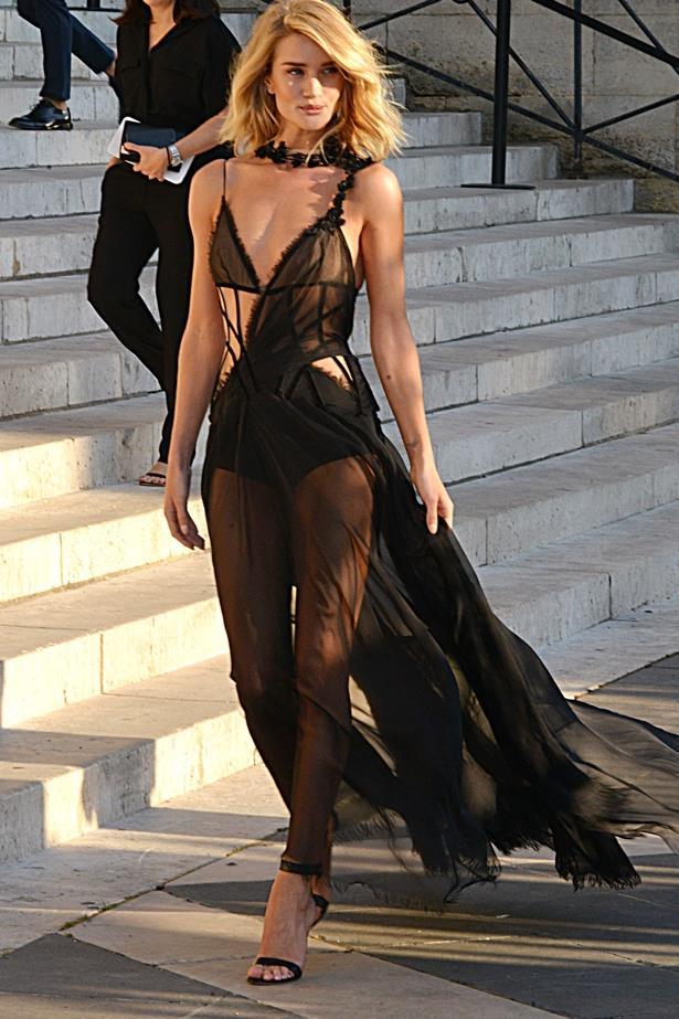 Woah, woah, woah Rosie Huntington-Whiteley at the Versace show in Paris.