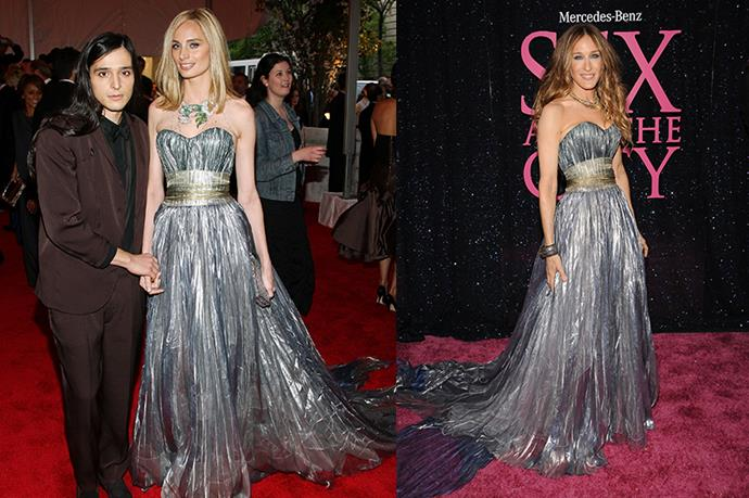 **Lauren Santo and Sarah Jessica Parker** <br><br> In a stunning silver number, both Lauren Santo and Sarah Jessica Parker equally pulled off this extravagant look with ease. Accessorising with statement jewellery, these two nailed red carpet style.