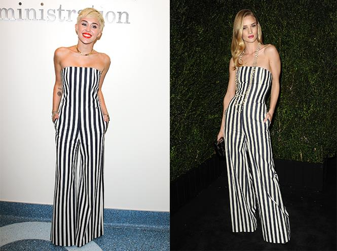 **Miley Cyrus and Rosie Huntington-Whiteley** <br><br> Head-to-head in matching Chanel jumpsuits, Cyrus and Huntington-Whiteley certainly know how to dress to impress.