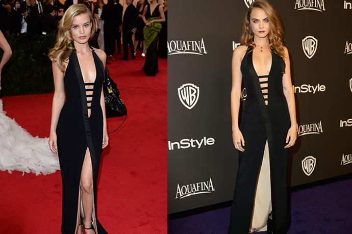 **Georgia May Jagger and Cara Delevigne** <br><br> This looks like any other case of celebrities wearing the same dress, but in this case, it really *is* the exact same dress. Thierry Mugler designed this piece custom for Jagger, which she then lent to Cara. Sharing is caring, right?