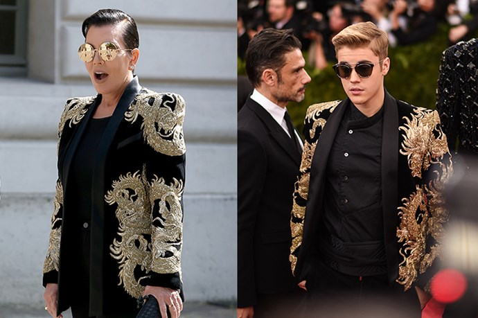 Who saw this one coming? Kris Jenner took a leaf out of Justin Bieber's book (?????) with this Balmain jacket.