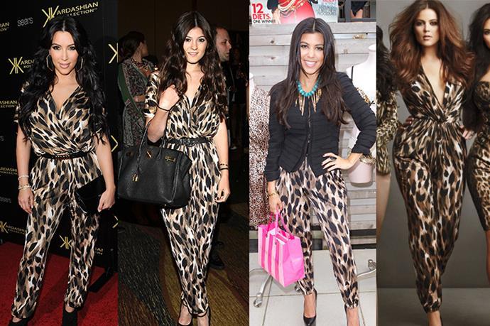 **Kim Kardashian, Kylie Jenner, Kourtney Kardashian and Khloé Kardashian** <br><br> Sisterhood of the traveling jumpsuit? Khloe, Kourtney, Kim *and* Kylie have been spotted in this Kardashian Kollection piece. Kendall, where art thou?