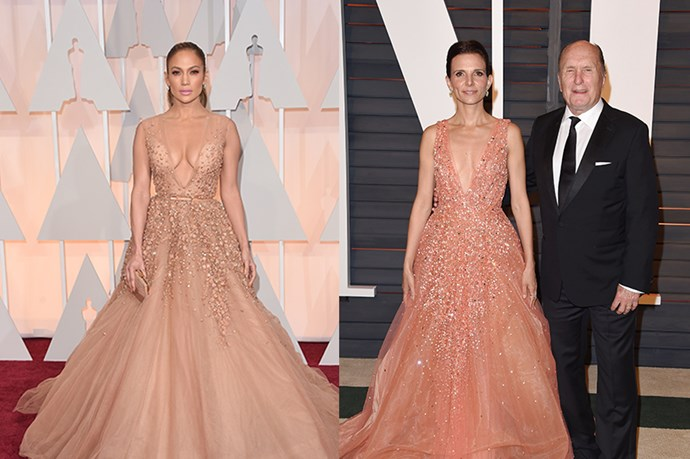 Is nowhere sacred? Jennifer Lopez and Luciana Duvall showed up to the Oscars wearing the same Elie Saab dress. The OSCARS.