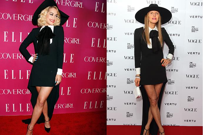 Instead of a fashion faux pas, Anna Della Russo and Rita Ora just looked like they were going to the same school for chic witches.