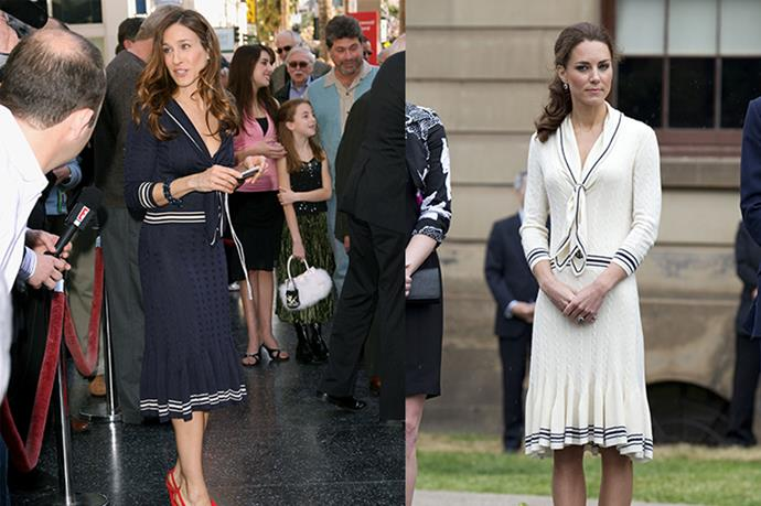**Sarah Jessica Parker and Kate Middleton** <br><br> Carrie Bradshaw meets the Duchess of Cambridge. SJP picked this number from her late good friend, Alexander McQueen, whilst Duchess Kate picked the same in white just a few months later.