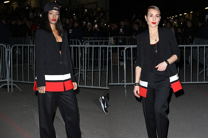 Turning up to the same Givenchy show, Noomi Rapace and Rihanna faced off in the same colour-blocked blazer.