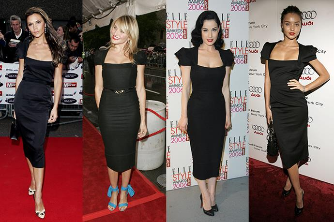 **Victoria Beckham, Cameron Diaz, Dita von Teese and Miranda Kerr** <br><br> Back in the day the Roland Mouret 'Galaxy' dress was *the* dress, according to these iconic ladies. And we can see why, each totally pulled off the look.