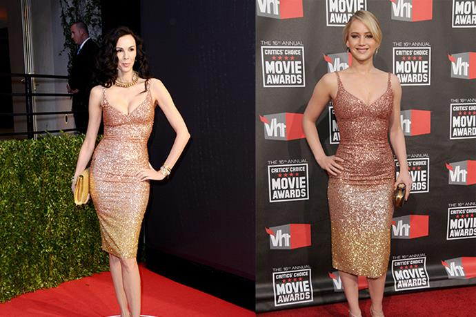 **L'Wren Scott and Jennifer Lawrence** <br><br> A twinning moment if we've ever seen one. The late L'Wren Scott wore the glitzy sheath from her name sake brand, to a Vanity Fair party on the arm of Mick Jagger, whereas JLaw wore hers as a budding actress in 2011.