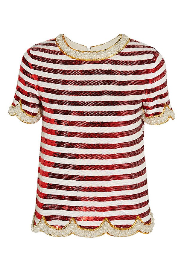 "Top, $2,390, Ashish, <a href=""http://www.net-a-porter.com/product/573518/Ashish/embellished-striped-silk-georgette-top""></a>"