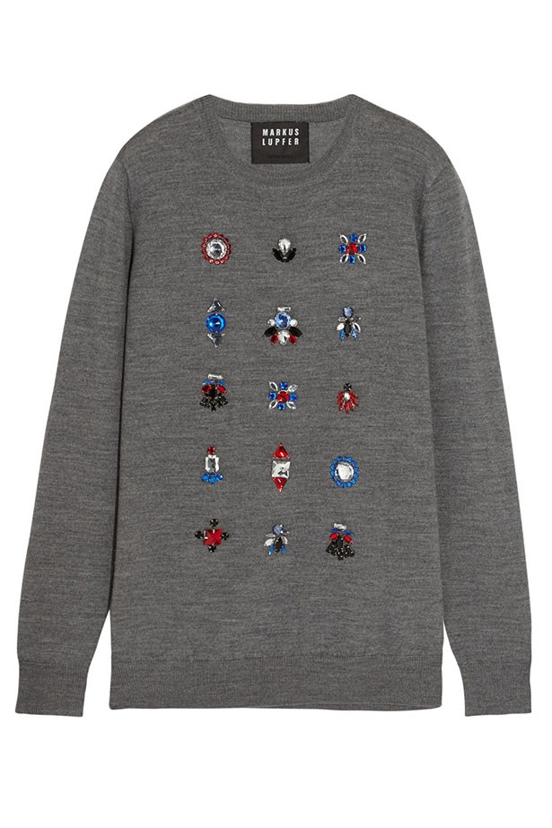 "Sweater, $415, Markus Lupfer, <a href=""http://www.net-a-porter.com/product/589552/Markus_Lupfer/natalie-crystal-embellished-merino-wool-sweater""></a>"