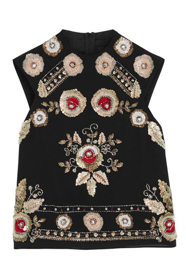 "Top, $295, Needle & Thread, <a href=""http://www.net-a-porter.com/product/570545/Needle_and_Thread/embellished-chiffon-top""></a>"