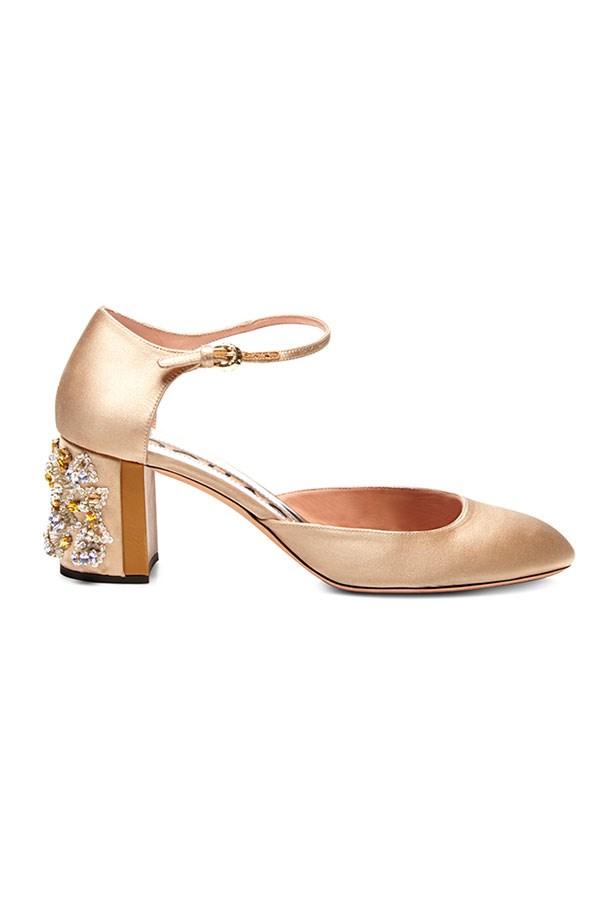 """Heels, $1,415, Rochas, <a href=""""https://www.modaoperandi.com/rochas-pf15/satin-embellished-heel-mary-janes""""></a>"""