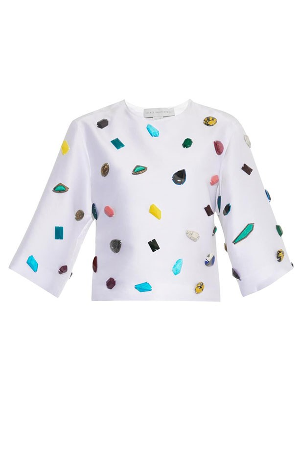 "Top, $745, Stella McCartney, <a href=""http://www.matchesfashion.com/au/products/Stella-McCartney-Gemstone-embellished-top-1012849""></a>"