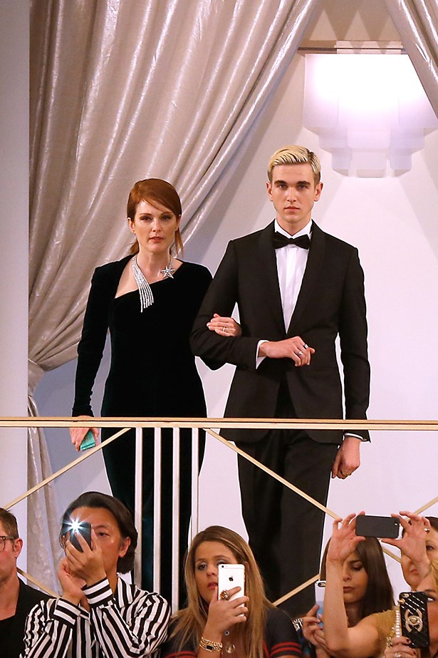 Gabriel-Kane Day-Lewis with Julianne Moore at the Chanel Couture show