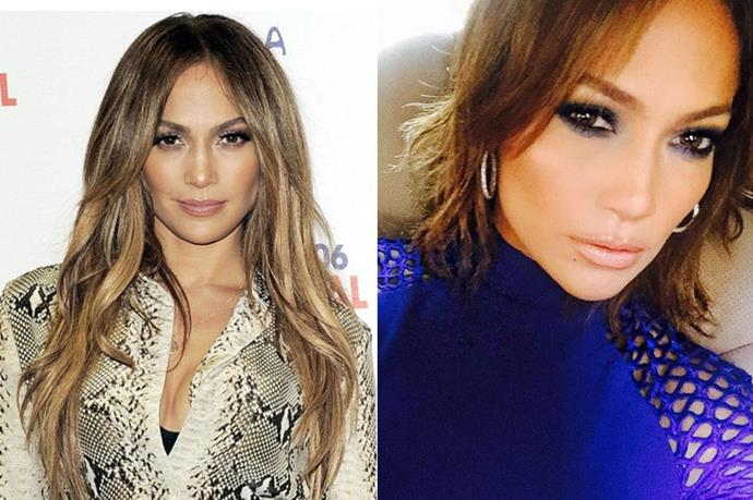 """<p> <strong>Jennifer Lopez</strong><p> <p>Jennifer Lopez went for the chop back in May, but just debuted an even shorter,  chin-grazing 'do on her Instagram, complete with the go-to """"short hair, don't care."""" No points for originality on the caption, but we do give JLO major hair props for this honey-delight, feathered and fringed bob. </p>"""