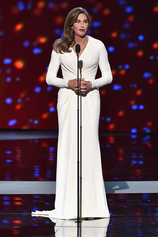 Caitlyn Jenner knocked everybody's socks off at the ESPYS where she accepted the Arthur Ashe Courage Award wearing this stunning, old Hollywood glamour Versace dress. Just, wow.