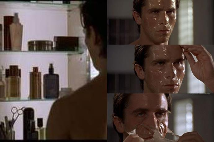 """<strong>American Psycho</strong> <br> <br> <em>America Psycho's</em> epic opening beauty routine scene sets up <em>Christian Bale's</em> character, <em>Patrick Bateman</em>, perfectly. <br> <br> His meticulous morning grooming regimen, in particular the <a href=""""http://www.elle.com.au/beauty/trends/2015/7/2015/7/mask-selfie/"""">mask-appreciation moment</a>, is equally vain and compulsive, as it is fabulous."""