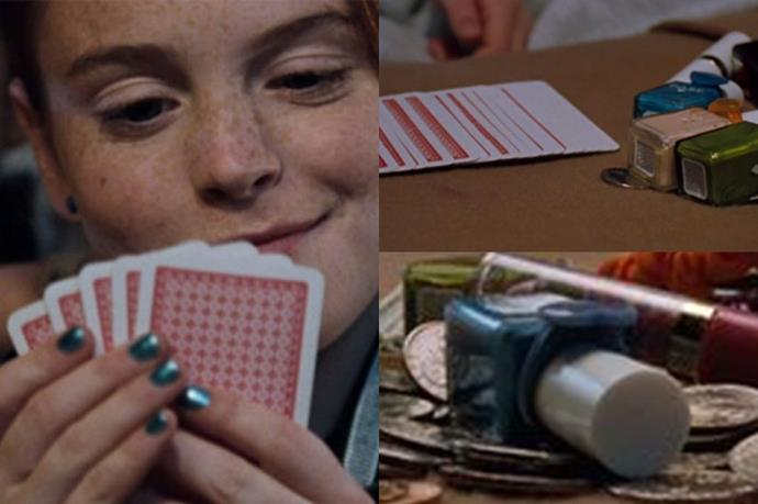 <strong>The Parent Trap </strong> <br> <br> Baby-faced <em><strong><strong>Lindsay Lohan</strong></strong></em> rocked an aqua-metallic manicure in the scene where twins  <em>Hallie</em> and <em>Annie </em>bet <em>Hard Candy</em> nail polishes (oh, so '90's) in a poker game.