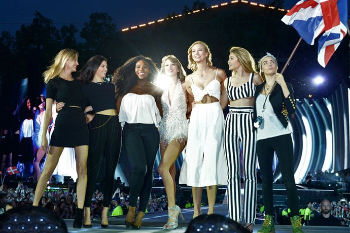 <p><strong>WITH MARTHA HUNT, KENDALL JENNER, SERENA WILLIAMS, KARLIE KLOSS, GIGI HADID, AND CARA DELEVINGNE</strong></p> <p>At London's Hyde Park on June 27, 2015.</p>
