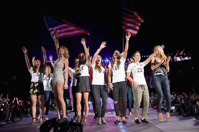 <p><strong>WITH HEIDI KLUM AND THE U.S. WOMEN'S SOCCER TEAM</strong></p> <p>In East Rutherford, New Jersey, on July 10, 2015.</p>