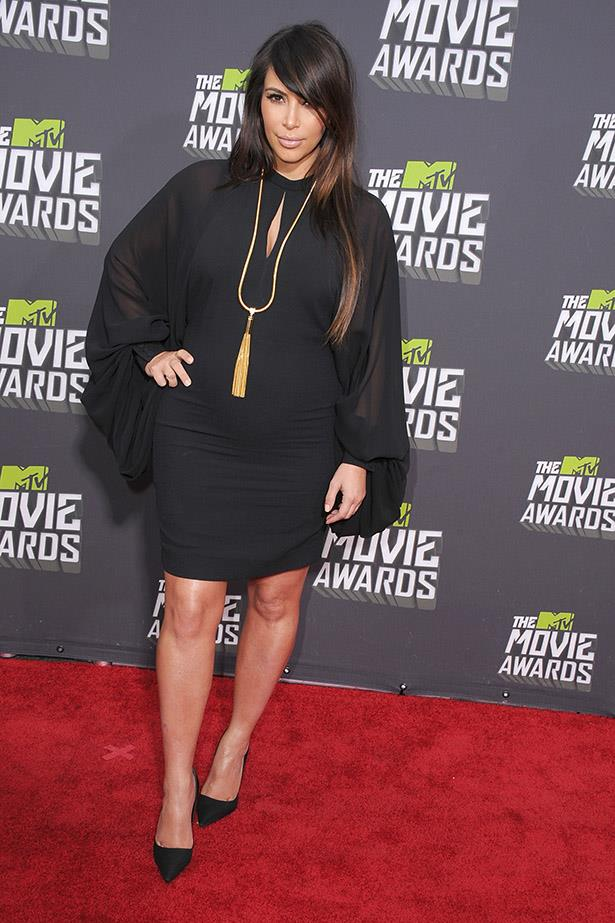 Keeping it simple in a LBD at the 2013 MTV awards when pregnant with North.