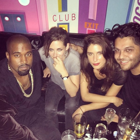 """KANYE WEST AND KRISTEN STEWART. Non-smiling """"we know we're blowing your mind"""" friends."""
