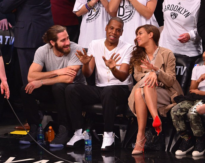 JAKE GYLLENHAAL, JAY Z, AND BEYONCÉ. Court-side friends.