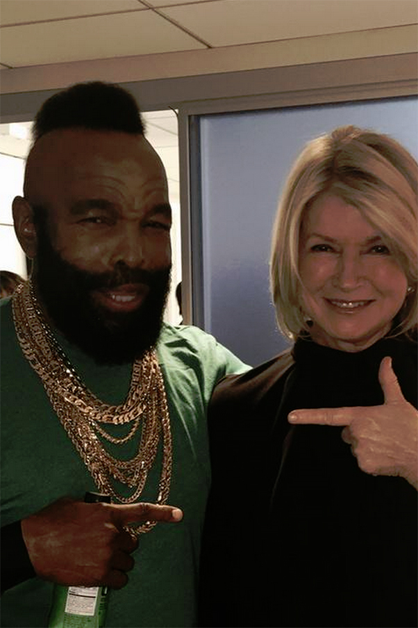 MR. T AND MARTHA STEWART. Today Show-chilling friends.