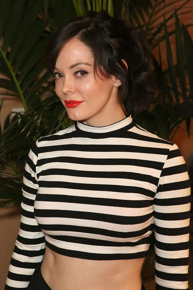"""Rose McGowan after being fired for pointing out the sexism wardrobe requirements for an audition (Black (or dark) form fitting tank that shows off cleavage (push up bras encouraged). And form fitting leggings or jeans): """"I just got fired by my wussy acting agent because I spoke up about the bullshit in Hollywood. Hahaha. #douchebags #awesome #BRINGIT"""""""