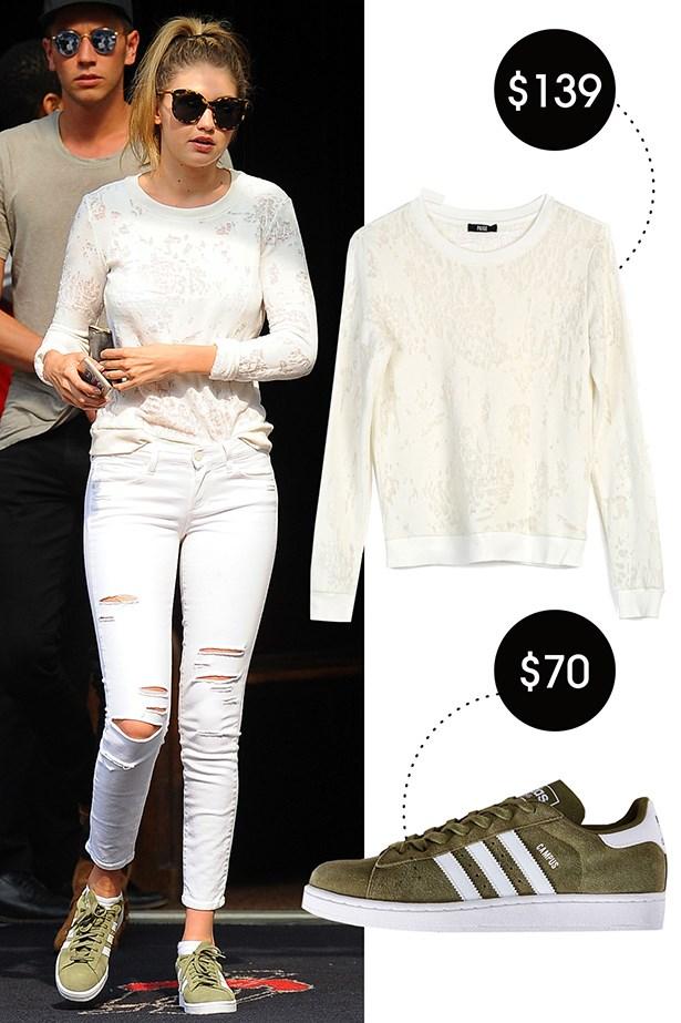 Adidas Originals Campus 2 Suede Sneaker, $70; urbanoutfitters.com Paige Josette Sweatshirt, $139; paige.com