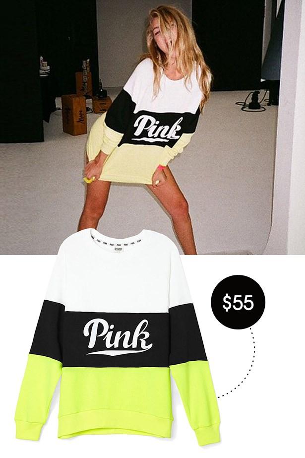 Victoria's Secret Pink Collegiate Crew, $55; victoriassecret.com
