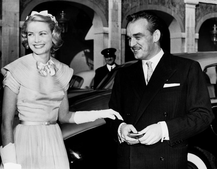 With Prince Rainier of Monaco on the day before their wedding, April 17, 1956.