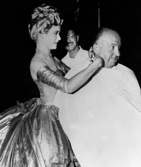 On the set of To Catch a Thief with Alfred Hitchcock in 1955.