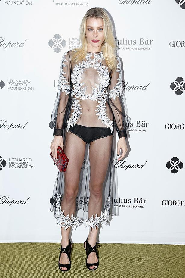 Jessica Stam took the naked dress next level in her Francesco Scognamiglio, also at Leonardo diCaprio's gala party.