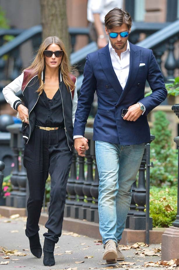 <p>November 02, 2013</p> <p>Olivia Palermo and Johannes Huebl are spotting walking in New York City.</p>
