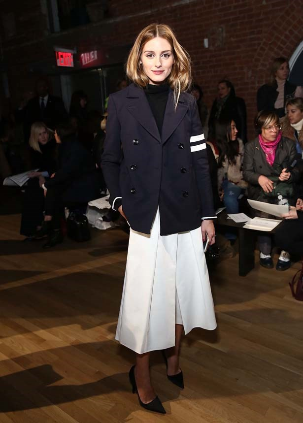 <p>February 14, 2015</p> <p>Olivia Palermo attends the Tibi show during Mercedes-Benz Fashion Week Fall 2015</p>
