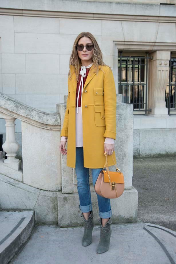 <p>March 08, 2015</p> <p>Olivia Palermo wears a Chloe shirt jacket and bag outside the Chloe show in Paris.</p>