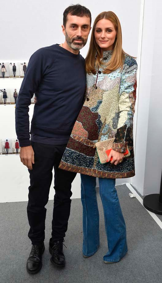 <p>March 11, 2015</p> <p>Designer Giambattista Valli and Olivia Palermo attend the Moncler Gamme Rouge show as part of the Paris Fashion Week Womenswear AW 15-16.</p>