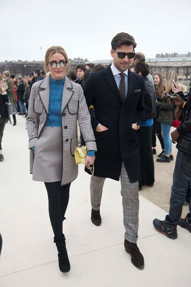 <p>March 10, 2015</p> <p>Olivia Palermo with husband Johannes Huebl attending Paris Fashion Week.</p>