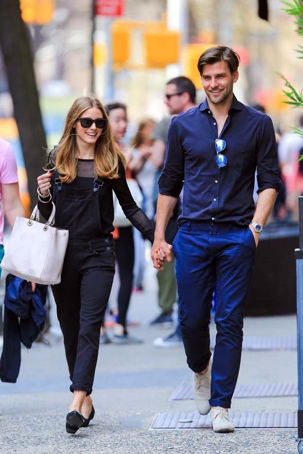 <p>April 13, 2014</p> <p> Olivia Palermo and Johannes Huebl are seen walking in Greenwich Village.</p>