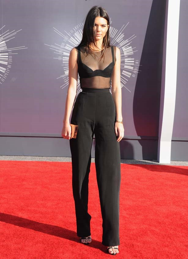 <p>August 24, 2014</p> <p>Kendall Jenner arrives at the 2014 MTV Video Music Awards.</p>